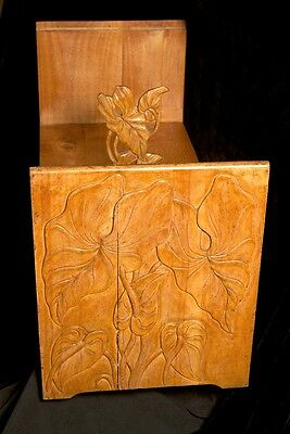 BEAUTIFUL VINTAGE 1930s GUMPS HAWAII Carved Wooden Anthurium Leaf Coffee Table