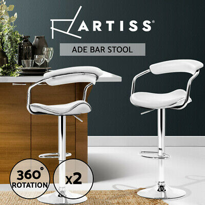 【20%OFF】2x Leather Bar Stools  Kitchen Chairs Swivel Bar Stool White Gas Lift