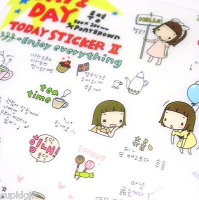 Pony Brown Day and Day Sticker Diary Planner Decor Scrapbook Korean Cute Kawaii