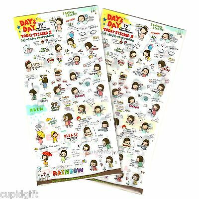 Pony Brown Day and Day Sticker x2 Set Diary Planner Decor Scrapbook Cute Kawaii