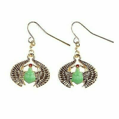 Mystica Fashion Egyptian Winged Gemstone Scarab Beetle Deity Earrings