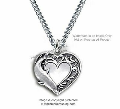 Dolphin Heart Love Necklace - Diamond Cut Dolphins Jewelry Ocean Sea Gift #c18*
