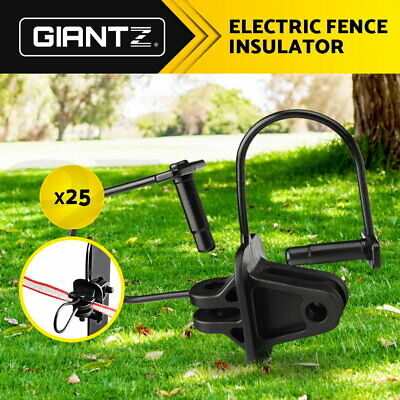 Giantz 25 Pinlock Insulator Electric Fence Energiser Steel Post Pin Lock