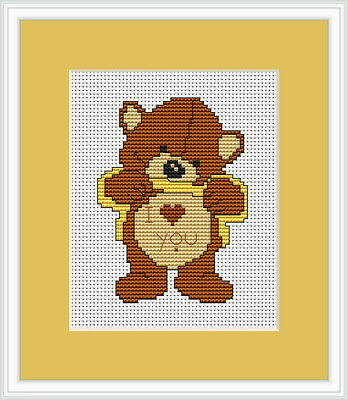 Love Me Bear Cross Stitch Kit By Luca S Ideal For Beginner 7.5cm x 10cm