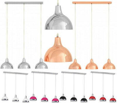 Jasper 3 Shade Bar Pendant Light Hanging Chrome Metal Effect Mounted Ceiling Lam
