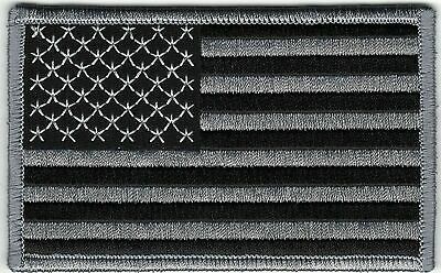 Black Gray Grey United States US Chest Flag Patch VELCRO® BRAND Hook Fastener Co