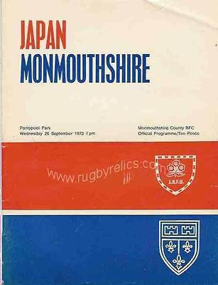 MONMOUTHSHIRE v JAPAN 26 Sep 1973 RUGBY PROGRAMME at PONTYPOOL