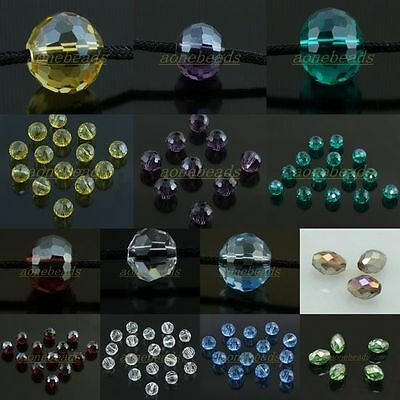 Faceted Crystal Glass Rondelle Ball Rice Gem Loose Spacer Beads Jewelry Findings