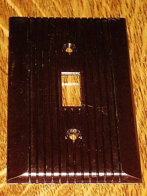 Vintage GE Monowatt Brown BAKELITE Ribbed Lines Single Light Switch Plate Cover
