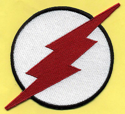 """KID FLASH  4"""" Large Fully Embroidered White & Red Chest Insignia Iron-on Patch"""