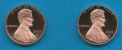 2013 S AND 2014 Proof Lincoln Cents- TWO Gem Proof Deep Cameo Coins