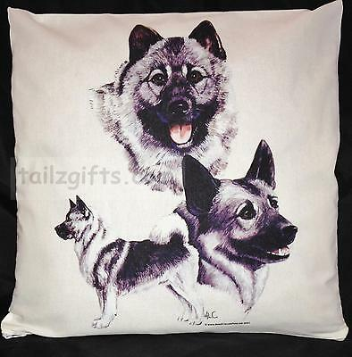 Norwegian Elkhound Group Breed of Dog Themed Cotton Cushion Cover - Perfect Gift