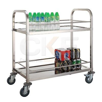 Stainless Steel Commercial Kitchen Drink Wine Food Utility Service Cart Trolley