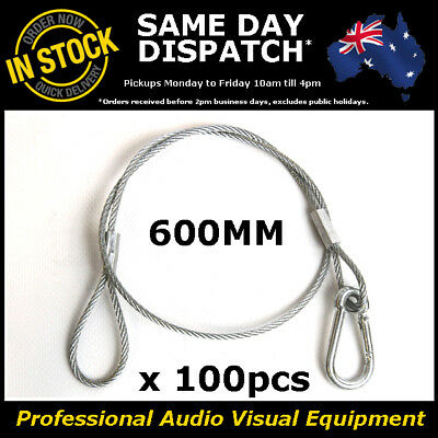 100 x 600mm Steel Wire Safety Security Cable Stage Lighting Light Clamp LED Can