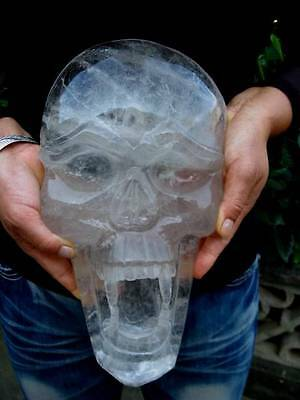 8.28lb Carved NATURAL clear quartz crystal skull healing