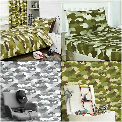 Army Camouflage Single Double Duvet Cover Set, Fitted Sheet, Curtains, Wallpaper
