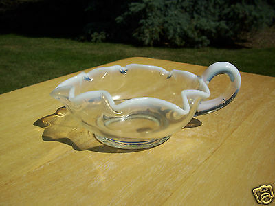 Vintage French Opalescent Star Shaped Handled Glass Nappy
