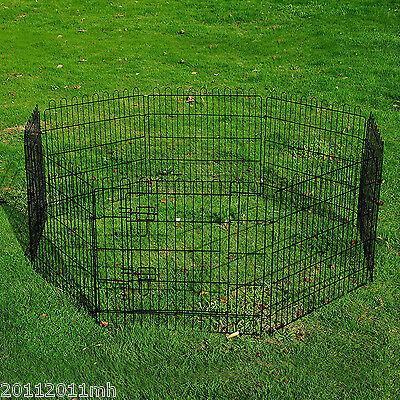 Metal Dog Pet Exercise Pen 8 Panel Puppy Playpen Cage Fence Crate Black New