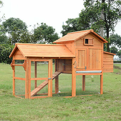 "PawHut 82"" Deluxe Backyard Wood Chicken Coop Rabbit Hutch w/ Run and Nesting Box"