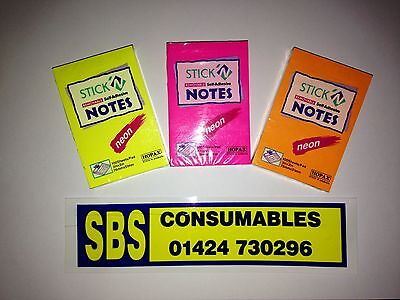 """Pack Of 3 Neon Sticky Notes Pads 3""""x2"""" - Choice Of Colours, Pink, Orange, Yellow"""