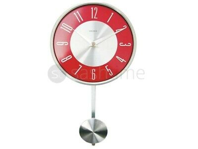 New Stylish Chrome Effect Red And Silver Pendulum Wall Mounted Clock Livingroom