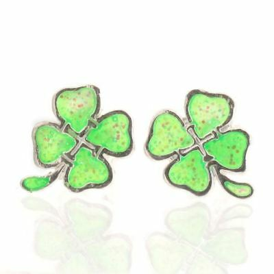 925 Sterling Silver Lucky Clover Shamrock Stud Earrings