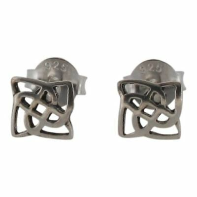 Sterling Silver Celtic Stud Earrings, Square Knot Work, 6mm - Post Style - 925