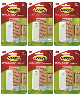 Pack of 6 3M Command Sawtooth Picture Hanger Holds 1.8kg Total 6 Hooks 12 Strips