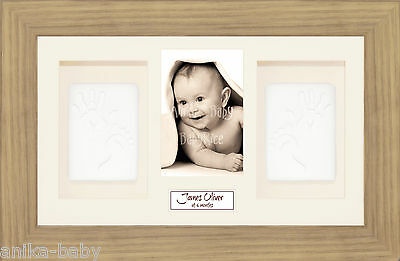 New Unique Baby Soft Imprint Clay Hand Footprint Kit & 3D Oak Effect Wood Frame