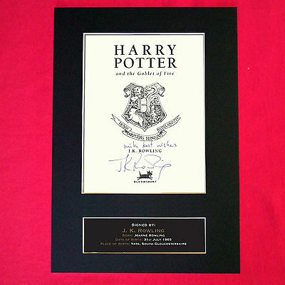 JK ROWLING Harry Potter Signed Intro Page The Goblet of Fire Repro A4 Print 412