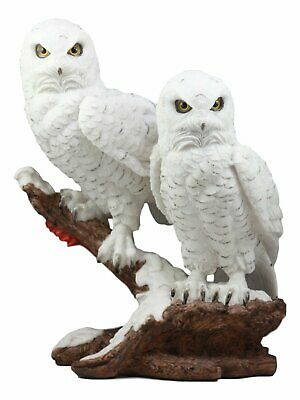 White Snow Owls Couple Resting on Tree Branch Figurine Statue Home Decorative