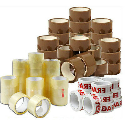 12 X 48Mm Brown Clear Fragile Packing Tape Parcel Packaging Stationary Buff Roll
