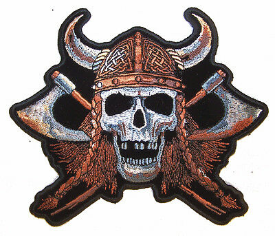 JUMBO VIKING w hat SKULL AXE MOTORCYCLE PATCH JBP55 jacket BACK patches iron on