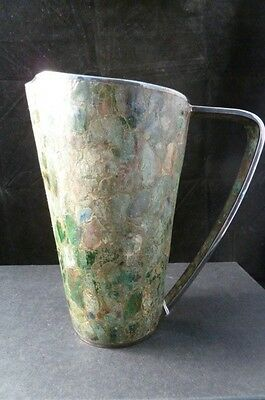 STUNNING  MEXICAN  SILVER PLATE AND GREEN LAPIZ PITCHER HECHO EN MEXICO