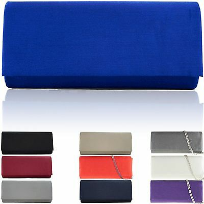Large Ladies Plain Satin Clutch Bag Women Designer Evening Party Bridal Prom UK