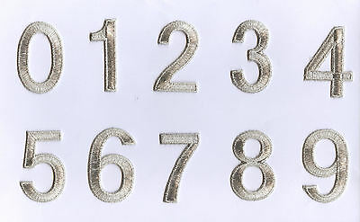 """Iron on Embroidered Alphabet 2"""" Numbers Metallic SILVER Your Choice Number"""