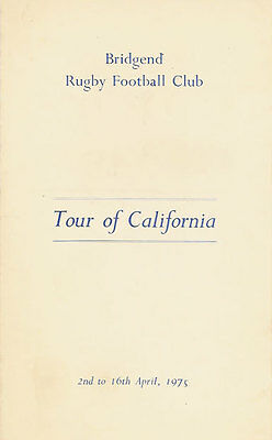 Bridgend RFC 1975 tour to California Rugby Itinerary Card