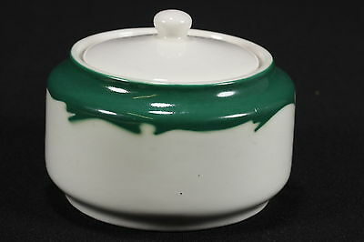 NOS Restaurant Ware Buffalo China Lidded Sugar Bowl Green Rim Crest
