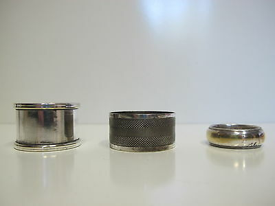 Lot of 3 Napkin Rings 1940 circa Antique ? Vintage Silver Plate UK ?