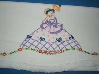 Vintage Antique HAND EMBROIDERED SOUTHERN BELLE LADY Cotton Pillowcase Standard
