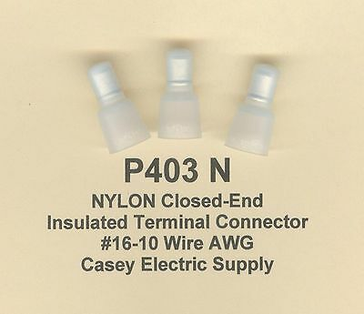 100 NYLON Insulated Closed End Terminal Connectors #16-10 Wire AWG MOLEX (P403N)