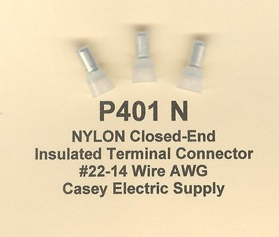 100 NYLON Insulated Closed End Terminal Connectors #22-14 Wire AWG MOLEX (P401N)
