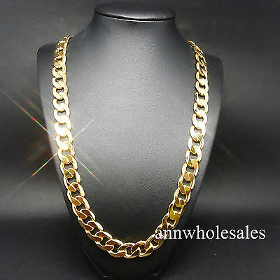 COOL HOT SALE !!~STAMPED 24KGL 24K Yellow Gold Filled Curb Chain Necklace Men's