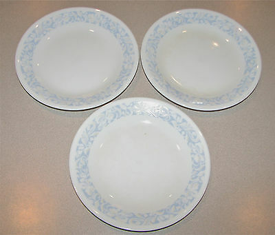 Lot of 3 Corelle Corning Salad Plate 6.5 inches Blue Light Beige Floral Design