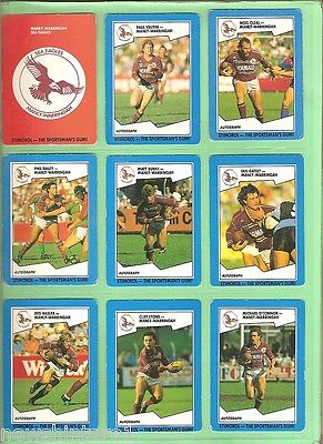 MANLY SEA EAGLES COLLECTION OF RUGBY LEAGUE CARDS 1989 to 1997