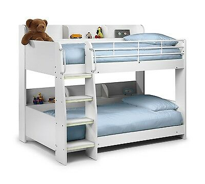 Julian Bowen Domino White Finish Wooden Kids Bunk Bed With 2 X Single Mattresses