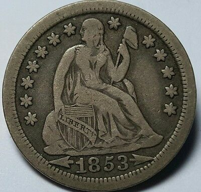 1853 United States of America - Seated Liberty Dime (With Arrows) 10 Cents Coin