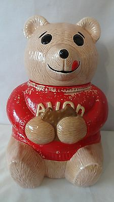1979 Avon  Bear With Red Shirt Promotional Cookie Jar #G52