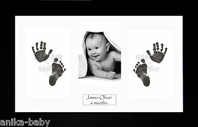 New Girl Boy 1st Baby Gift Handprint Footprint Black Inkless Kit - Black Frame