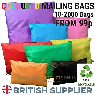 Coloured Mailing Bags Plastic Mail Post Postage Polythene Strong Seal All Sizes